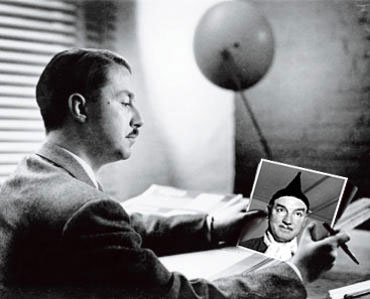 Landor founder, Walter Landor gazing with disappointment at his half-son, Blandor.